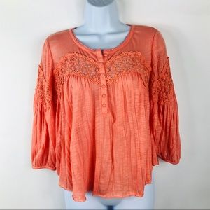 Free People Button Front Peasant Top